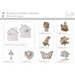 BOMBONIERA  Vari tipi di applicazione in legno adatti per adornare bomboniere e segnaposti.  Ogni articolo viene venduto in confezione da n. 12 pezzi.